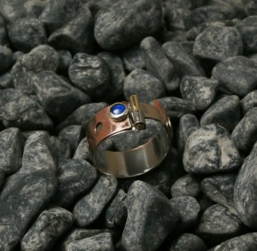 ring stainless steel, copper, tin, brass, blue Spinel 5mm size 11.5 -15