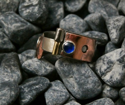 ring stainless steel, copper, tin, brass, blue Spinel 5mm size 11.5 -17