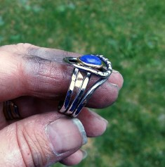ring stainless steel, bronze, Lapis lazuli10mm size 10.25 - 11