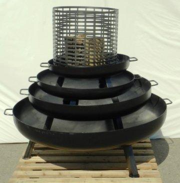 Feuerschale aus Stahl 650 mm / mit 3 Beinen und 2 Griffen + gratis Kaminholz -