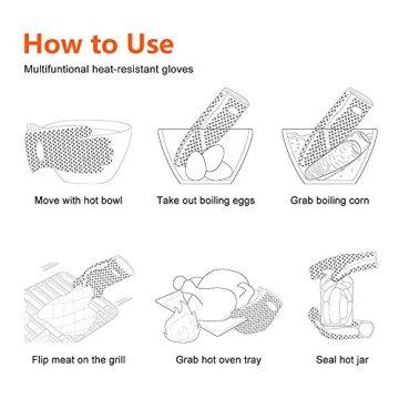 KKtick Ofenhandschuhe Silikon Heat Resistant Grill Zubehör Kitchen Tools für Ihre Indoor&Outdoor Bedürfnisse Kochen, Widerstandshochtemperatur, Wärmedämmung, Superb Grip Oven mitts- 1 Paar(Schwarz) -