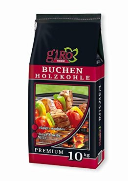 20kg (2x10kg) giRo Buchengrillkohle Holzkohle Buche Grillkohle Buchengrillholzkohle Premium + 20 Stück Anzünder -