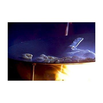 MUURIKKA finnische Grillpfanne Ø 58 cm aus 3 mm heißgewalztem Stahlblech und Standbeinen aus Edelstahl, traditionell finnische Grillschale zum Grillen über offenem Feuer -