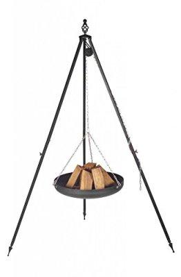 Feuerschale mit Dreibein Nortpol Farmcook hängend 70 cm an Dreibein Oskar, Höhe 210 cm -