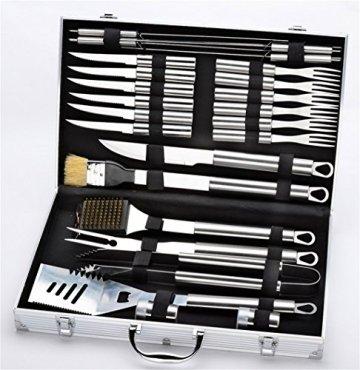 RoseFlower® 24 teilig Hochwertige Edelstahl Grillbesteck Barbeque mit Aluminium-Koffer enthalten - Perfekte Schwerlast Professionelle Grill-Werkzeug BBQ Zubehör Kit - 3