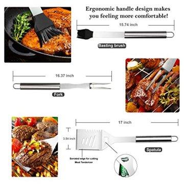 RoseFlower® 24 teilig Hochwertige Edelstahl Grillbesteck Barbeque mit Aluminium-Koffer enthalten - Perfekte Schwerlast Professionelle Grill-Werkzeug BBQ Zubehör Kit - 4