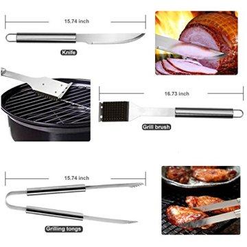 RoseFlower® 24 teilig Hochwertige Edelstahl Grillbesteck Barbeque mit Aluminium-Koffer enthalten - Perfekte Schwerlast Professionelle Grill-Werkzeug BBQ Zubehör Kit - 5