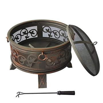 Stahl Feuerschale 66cm Feuerstelle schwarz Klassik Stil Feuerkorb robust Schürhaken Standbeine Schutzdeckel Funkenhaube - 2