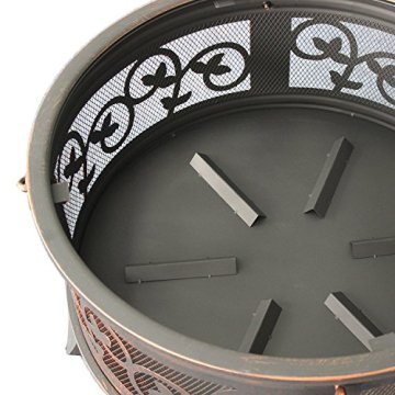 Stahl Feuerschale 66cm Feuerstelle schwarz Klassik Stil Feuerkorb robust Schürhaken Standbeine Schutzdeckel Funkenhaube - 4