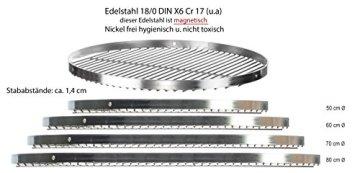 Edelstahl Grillrost Schwenkgrill geeignet - Rostfrei Edelstahl 18/0 Asi 430 Nickelfrei - Ø 50 cm - 2