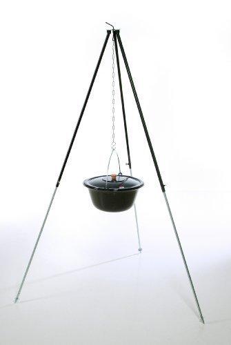 Original ungarischer Gulaschkessel (22 Liter) + Dreibein-Gestell (180cm) ✓ Emailliert ✓ Kratzfest ✓ Geschmacksneutral   Teleskop-Dreifuß mit Gulasch-Topf, Suppentopf, Glühweintopf   Kochkessel mit Deckel für Kesselgulasch, Glühwein-Kessel im Set - 1