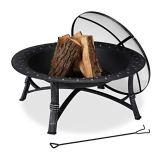 Relaxdays Feuerschale mit Funkenschutz, Garten & Terrasse, mit Schürhaken, Outdoor Feuerstelle, HxD: 52 x 90 cm, schwarz - 1