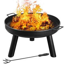 femor Feuerschale Ø60cm mit Griffen, Abnehmbar Metall Feuerkorb mit Feuergabel, Terrasse Garten Multifunktional Fire Pit für Heizung/BBQ mit Kleinem Gerät zu Installieren - 1