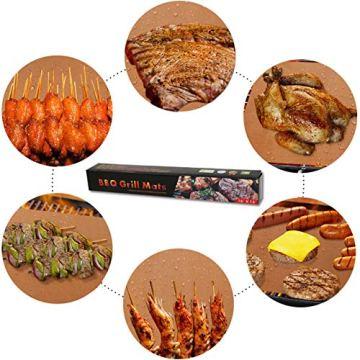 HAUSPROFI Grillmatte, 100% Antihaftend BBQ Grillmatten bis 260°C, 6er Set mit 1 Grillbürste, FDA Zugelassen PFOA Frei, für Holzkohlegrill, Gasgrill oder Elektrogrill (40x33cm, Kupfer) - 7