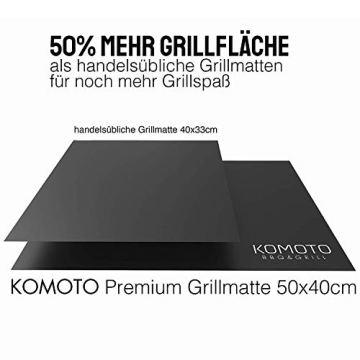 KOMOTO® BBQ Grillmatte (3er Set) 50x40 cm I Extra Dick I Für Gasgrill und Holzkohle - 3