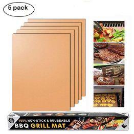 Merrday Kupfer Grillmatte, 5-Pack Heavy Duty Magic BBQ Grillmatten Antihaft, wiederverwendbar und einfach zu reinigen Barbecue Grillen Zubehör für Gas, Elektro und Holzkohle Grillen - 1