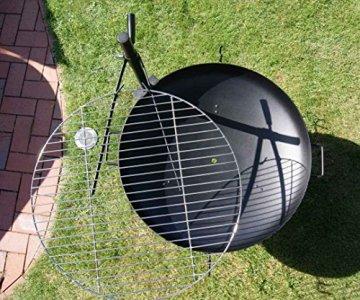 AKTIONA Edelstahl Ø 60 cm V2A Grillrost + Massive Halterung für Feuerschale Feuerkorb Grill - 5