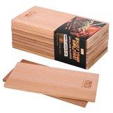LAOYE 10 Stück Grillbrett Zedernholz XXL Räucherbretter Zum Grillen, (30 x 14 x 1 cm) Grillplanken aus 100% originalem kanadischen Western Red Cedar, Zedernholzbrett zum Grillen - 1