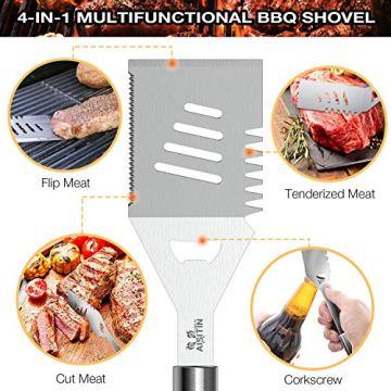 AISITIN 35er BBQ Grillbesteck Tool Set Grillset mit Grillmatte Hochwertiger Edelstahl für Garten und Camping Grillzubehör BBQ für Männer und Frauen Ink. Koffer - 2