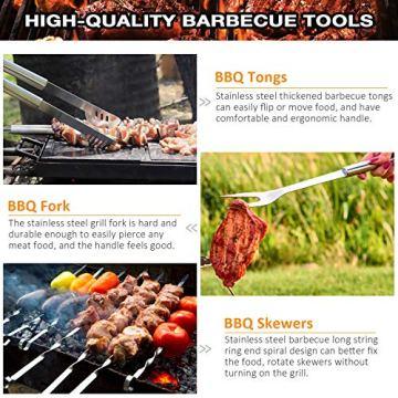 AISITIN 35er BBQ Grillbesteck Tool Set Grillset mit Grillmatte Hochwertiger Edelstahl für Garten und Camping Grillzubehör BBQ für Männer und Frauen Ink. Koffer - 7
