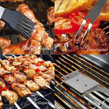 Likey Grillbesteck Set, 10-teilig Grillwerkzeug-Set,Grillzange, Grillwender, Grillbürste, Grillspieße, Fleischgabel, Silikon-Backpinsel - 2