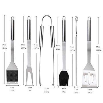 Likey Grillbesteck Set, 10-teilig Grillwerkzeug-Set,Grillzange, Grillwender, Grillbürste, Grillspieße, Fleischgabel, Silikon-Backpinsel - 6