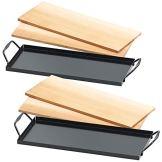 Rosenstein & Söhne Räucherbretter: 4 Zedernholz-Grillbretter für Holzkohle- & Gasgrills, mit Metallrahmen (Zedernholz-Bretter) - 1