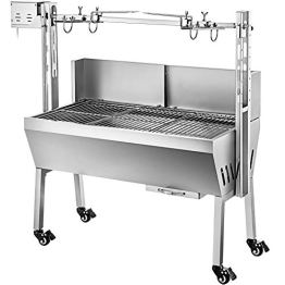 VEVOR BBQ Spießgrill Tisch Spießbratengrill mit Grillmotor für Hähnchen Lamm, Rind oder Rollbraten, mit höhenverstellbarer Spieß für bis zu 60 kg Grillgut, Grillfläche Holzkohlegrill: ca. 88 x 44 cm - 1