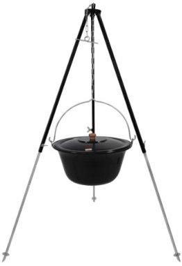 Grillplanet Original ungarischer Gulaschkessel 15 Liter emailliert | Dreibein-Gestell 130cm Teleskopgestell Kettenhöhenverstellung mit Gulasch-Topf, Suppentopf mit Deckel | Kesselgulasch Topf im Set - 1