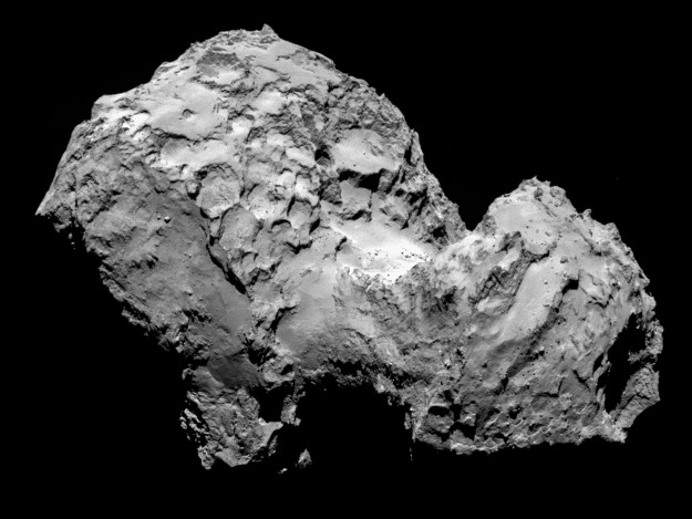 Comet 67P/Churyumov-Gerasimenko by Rosetta's OSIRIS narrow-angle camera on 3 August 2014 from a distance of 285 km. The image resolution is 5.3 metres/pixel.