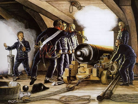 firing a cannon