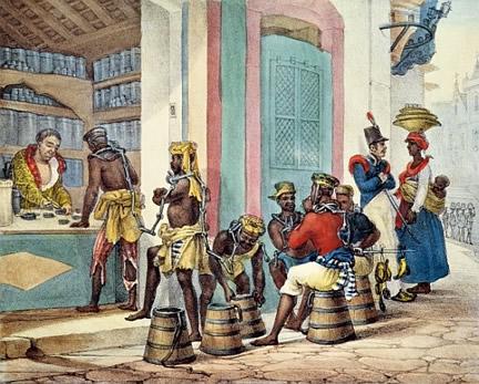 slaves buying tobacco in Rio by Jean Baptiste Debret