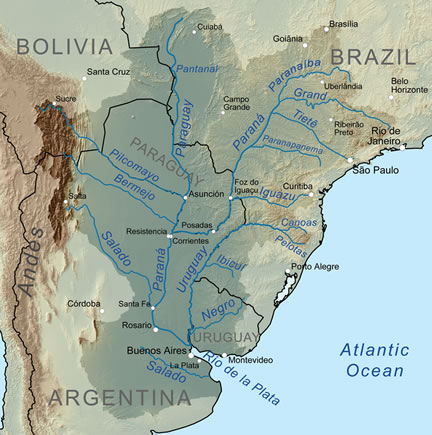 Parana River and the Rio de la Plata drainage basin