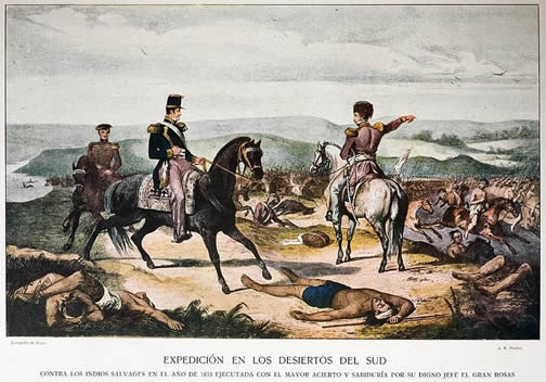 General Rosas in 1833 fighting the native people