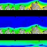 A visualization of simulated platelets under flow conditions.