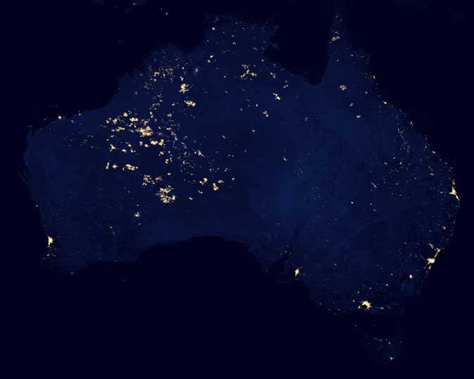 This nighttime image of Australia was cropped from the Suomi NPP