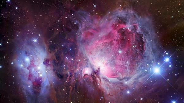 rechts: Orionnebel Messier 42, links: De Mairans Nebel Messier 43; Bild: CC BY-2.0, Flickr, Marc Van Norden
