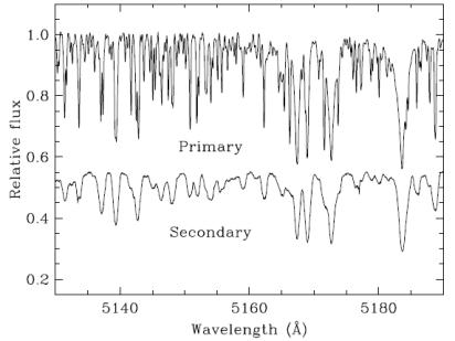 """Hier wurden die Spektren der beiden Komponenten isoliert. Die Linien von Capella Ab (""""Secondary"""") sind aufgrund seiner schnellen Rotation verbreitert, denn sie entstehen auf der gesamten Oberfläche, die sich teilweise auf den Beobachter zu bewegt, teilweise tangential, und teilweise von ihm weg. Die Linie von Aa (""""Primary"""") sind wesentlich schmäler. Quelle: [4]"""