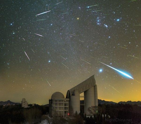 Geminiden 2015 über dem Xinglong-Observatorium