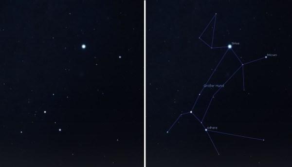 Sternbild Großer Hund, ohne und mit Sternzuglinien. Bild: Autor, Stellarium.