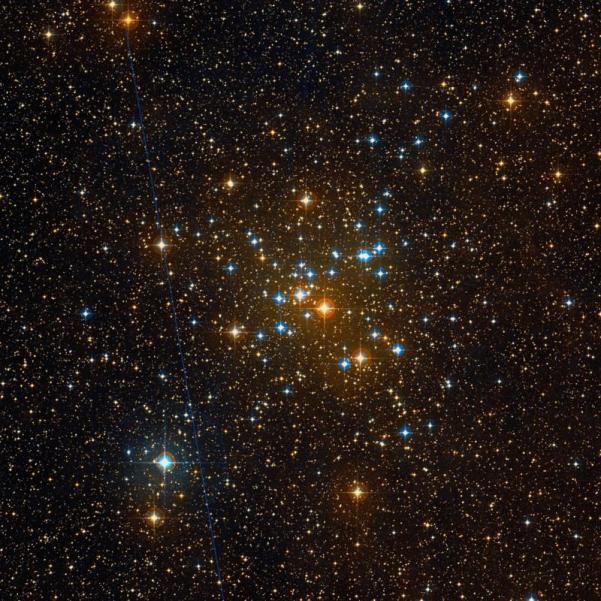 Der Sternhaufen M41, optische Aufnahme aus dem Digitized Sky Survey 2 (DSS2). Bild: wikisky.org, gemeinfrei.