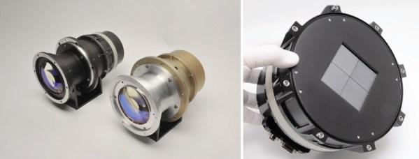 Links: Zwei TESS-Kameraobjektive aus den Tests. Rechts: Kamerasensor bestehend aus 4 CCD-Chips mit je 62 mm Seitenlänge. Bild: NASA/MIT [1]