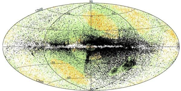 Plot der in Gaia DR2 enthaltenen ca. 220.000 RR Lyrae-Sterne in galaktischen Koordinaten, darunter ca. 46.000 alleine in den Magellanschen Wolken (Kleckse halb rechts bei -30° bis -50° galaktischer Breite), 2860 in 87 Kugelsternhaufen und 984 in Zwerggalaxien. Grüne Punkte sind bereits bekannte Sterne, gelbe sind bekannte Sterne, die in den Gaia-Daten von den Autoren nicht identifiziert werden konnten, und schwarze Punkte sind 50.220 neu gefundene RR-Lyrae-Sterne. Die gelben Punkt sind damit begründet, dass für einige Sterne noch nicht genug Beobachtungen vorliegen - Sterne mit weniger als 12 Beobachtungen wurden in der Analyse ignoriert.