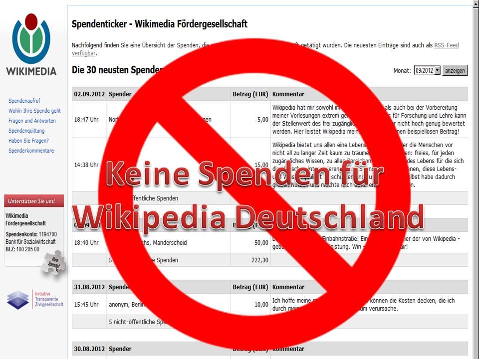 AUFRUF zum SPENDENBOYKOTT von Wikipedia Deutschland | ScienceFiles