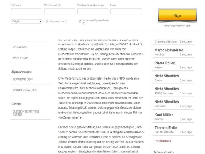 AA-Stiftung Petition