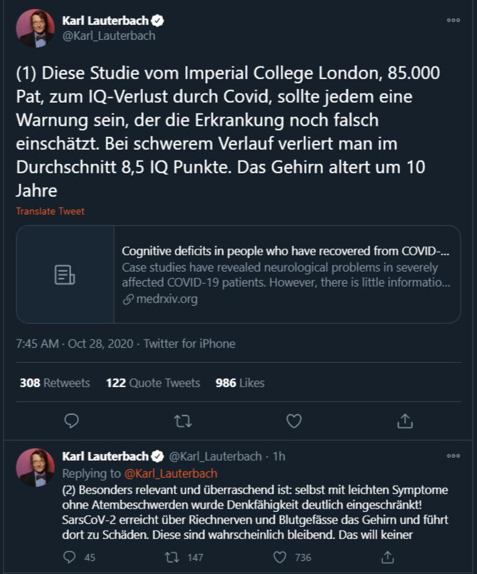 Lauter Quatsch Macht Covid 19 Dumm Karl Lauterbach Und Der Iq Sciencefiles