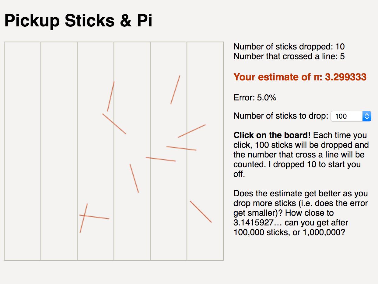 Estimate Pi By Dropping Sticks