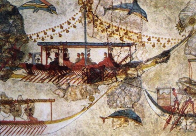 Mycenaean fresco boats