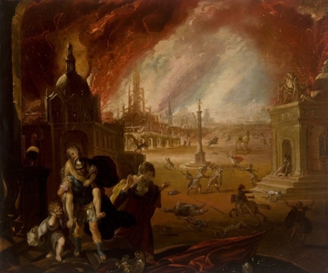 Fall of Troy painting collapse