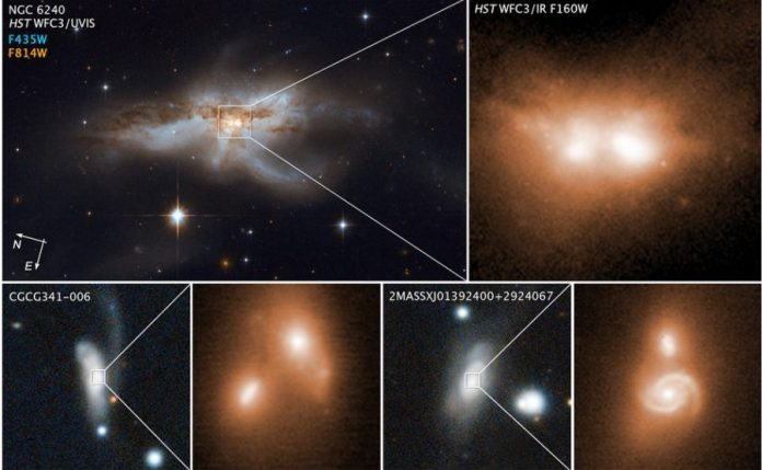 Astronomers detect three supermassive black holes at the center of three colliding galaxies